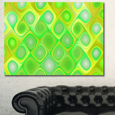 Designart Green Fractal Pattern With Swirls Abstract Canvas Wall Art