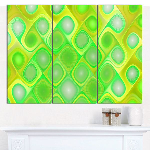 Designart Green Fractal Pattern With Swirls Abstract Canvas Wall Art - 3 Panels