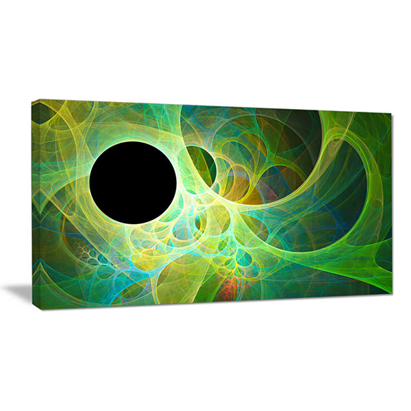 Designart Green Fractal Angel Wings Abstract Canvas Wall Art