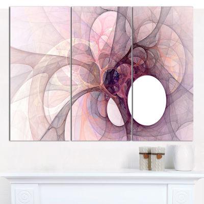 Designart Light Purple Fractal Angel Wings Abstract Canvas Wall Art - 3 Panels