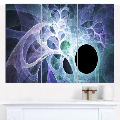 Designart Light Blue Fractal Angel Wings AbstractCanvas Wall Art - 3 Panels