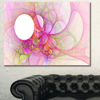 Designart Light Pink Angel Wings On White AbstractCanvas Wall Art