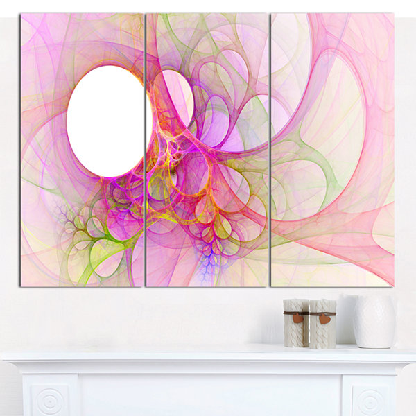 Designart Light Pink Angel Wings On White AbstractCanvas Wall Art - 3 Panels