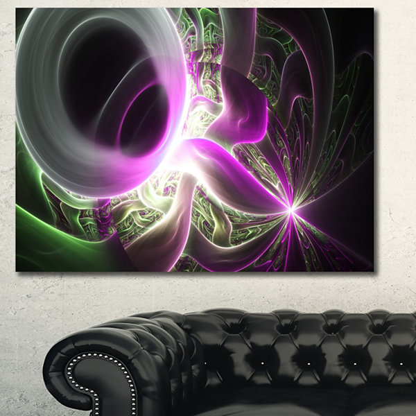 Designart Light Purple Designs On Black Abstract Canvas Wall Art