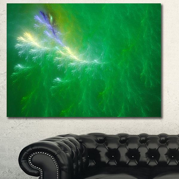 Designart Green Fractal Thunder Sky Abstract Canvas Wall Art