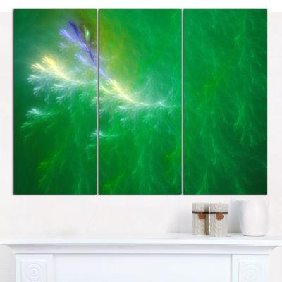 Designart Green Fractal Thunder Sky Abstract Canvas Wall Art - 3 Panels