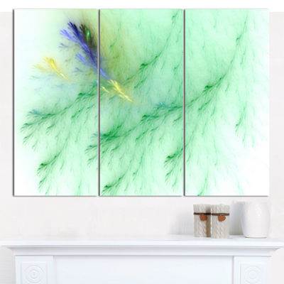 Designart Light Green Veins Of Marble Abstract Canvas Wall Art - 3 Panels