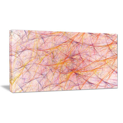 Designart Mystic Pink Fractal Veins Abstract Canvas Wall Art