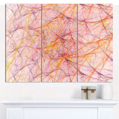 Designart Mystic Pink Fractal Veins Abstract Canvas Wall Art - 3 Panels