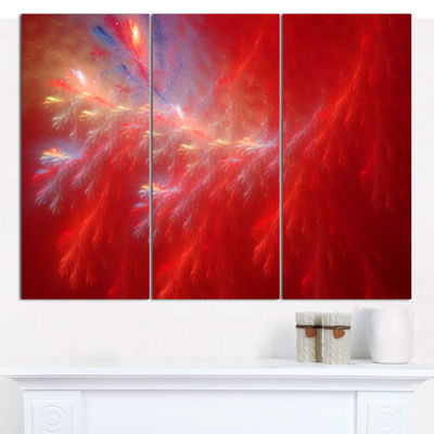 Designart Mystic Red Thunder Sky Abstract CanvasWall Art - 3 Panels