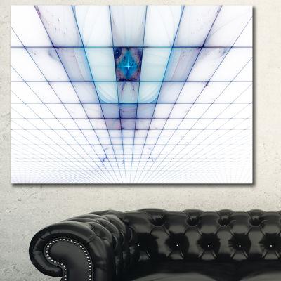Designart Light Blue Laser Protective Grids Abstract Canvas Wall Art