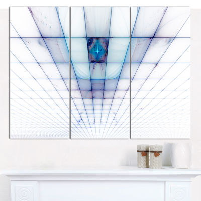 Designart Light Blue Laser Protective Grids Abstract Canvas Wall Art - 3 Panels