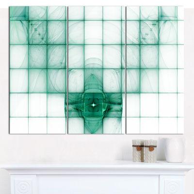 Designart Light Blue Bat On Radar Screen AbstractCanvas Wall Art - 3 Panels