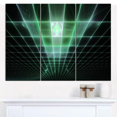 Designart Light Green Bat On Radar Screen AbstractCanvas Wall Art - 3 Panels