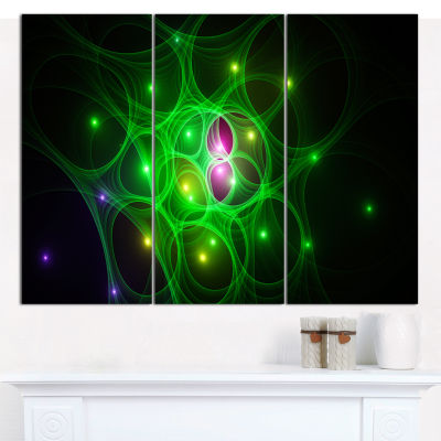 Designart Green Fractal Space Circles Abstract Canvas Wall Art - 3 Panels