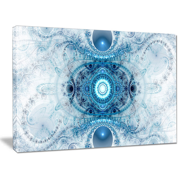 Designart Light Blue Fractal Pattern Abstract Canvas Wall Art