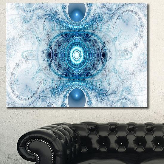 Designart Light Blue Fractal Pattern Abstract Canvas Wall Art - JCPenney