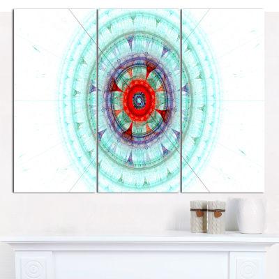 Designart Light Blue Fractal Sphere Abstract Canvas Wall Art - 3 Panels