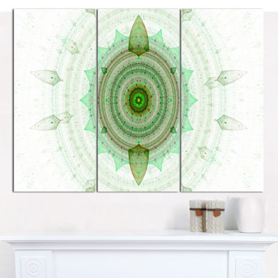 Designart Light Green Cryptical Sphere Abstract Canvas Wall Art - 3 Panels