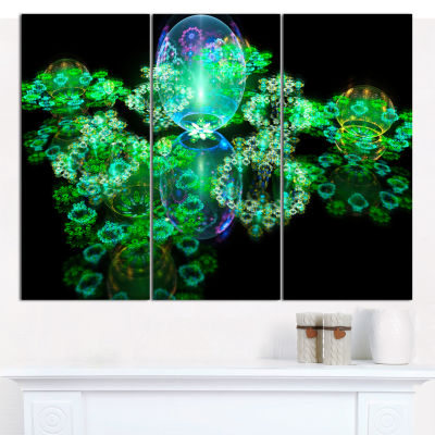 Designart Green Water Drops On Mirror Abstract Canvas Wall Art - 3 Panels