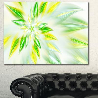 Designart Light Green Fractal Spiral Flower Abstract Canvas Wall Art