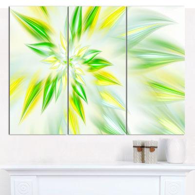 Designart Light Green Fractal Spiral Flower Abstract Canvas Wall Art - 3 Panels