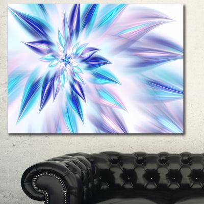 Designart Light Blue Fractal Spiral Flower Abstract Canvas Wall Art