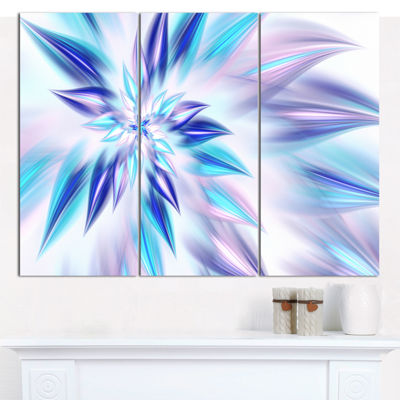 Designart Light Blue Fractal Spiral Flower Abstract Canvas Wall Art - 3 Panels