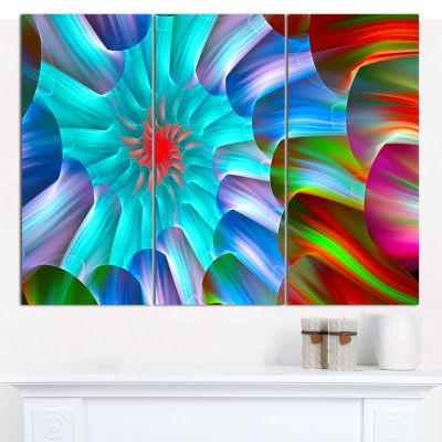 Design Art Multi Layered Fractal Spirals AbstractCanvas Wall Art - 3 Panels