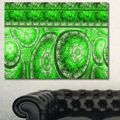 Designart Green Living Cells Fractal Design Abstract Canvas Wall Art
