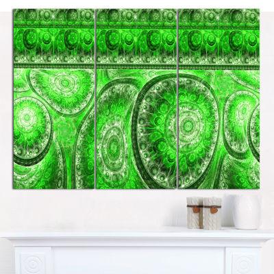 Designart Green Living Cells Fractal Design Abstract Canvas Wall Art - 3 Panels
