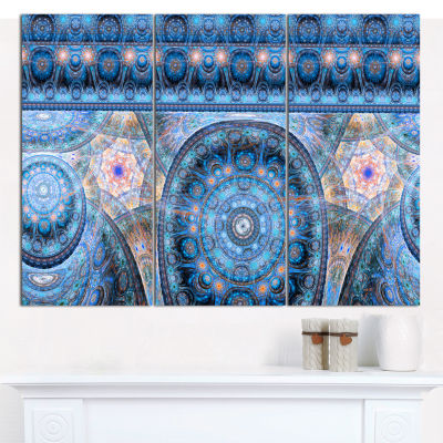 Designart Light Blue Living Cells Fractal DesignAbstract Canvas Wall Art - 3 Panels