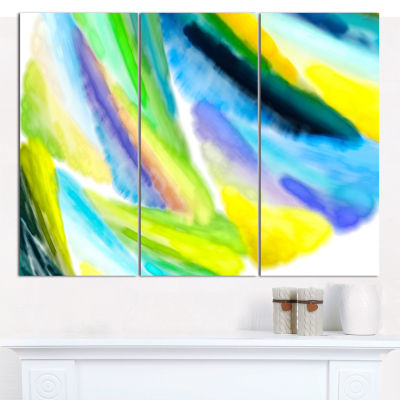 Designart Green Vibrant Brushstrokes Abstract Canvas Wall Art - 3 Panels