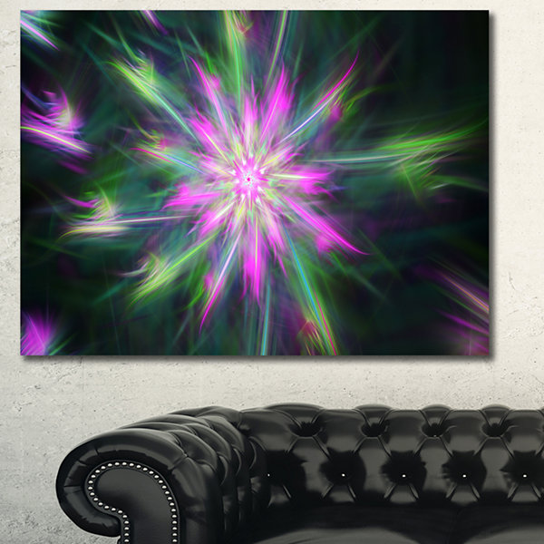 Designart Green Fractal Shining Bright Star Abstract Canvas Wall Art