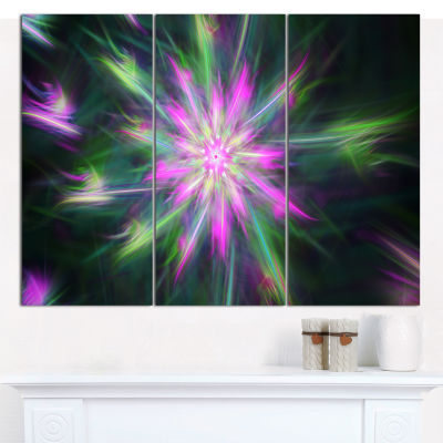 Designart Green Fractal Shining Bright Star Abstract Canvas Wall Art - 3 Panels