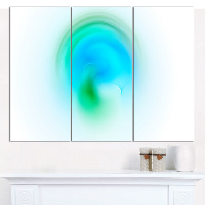 Designart Green Luminous Misty Sphere Abstract Canvas Wall Art - 3 Panels