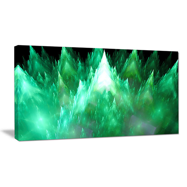Designart Green Fractal Crystals Design Abstract Canvas Wall Art