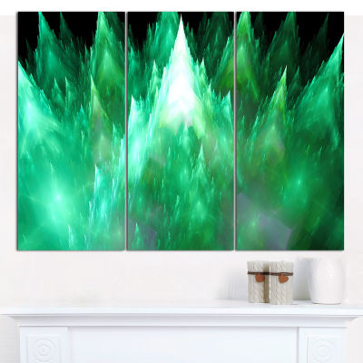 Designart Green Fractal Crystals Design AbstractCanvas Wall Art - 3 Panels