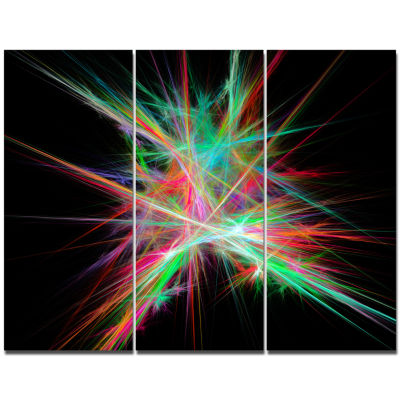 Designart Green Red Spectrum Of Light Abstract Canvas Wall Art - 3 Panels