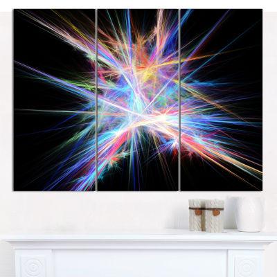 Designart Light Blue Spectrum Of Light Abstract Canvas Wall Art - 3 Panels