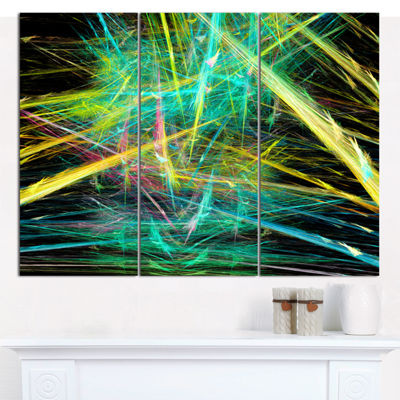 Designart Green Yellow Magical Fractal Pattern Abstract Canvas Wall Art - 3 Panels