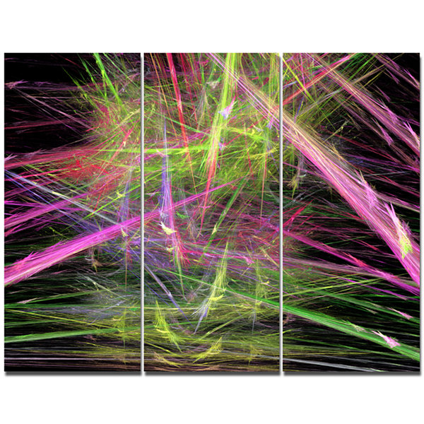 Designart Green Pink Magical Fractal Pattern Abstract Canvas Wall Art - 3 Panels
