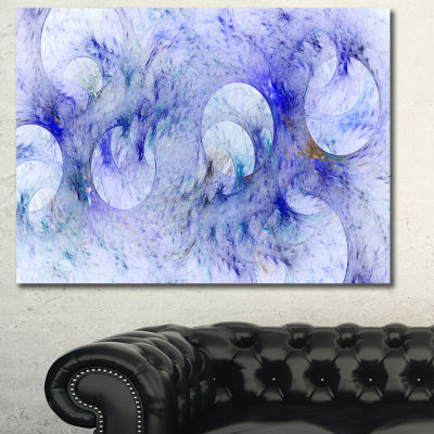 Designart Light Blue Fractal Glass Texture Abstract Canvas Wall Art