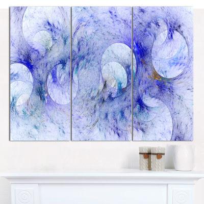 Designart Light Blue Fractal Glass Texture Abstract Canvas Wall Art - 3 Panels