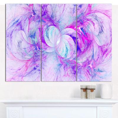 Designart Light Purple Fractal Texture Abstract Canvas Wall Art - 3 Panels