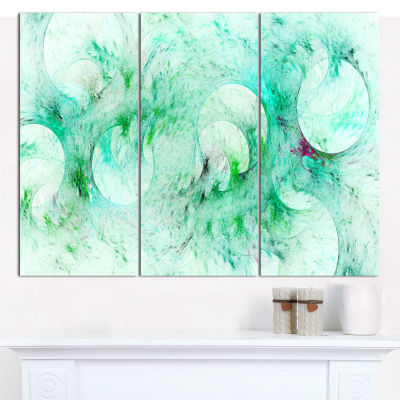 Design Art Green Circles Fractal Texture AbstractCanvas Wall Art - 3 Panels
