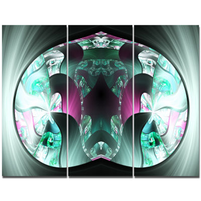 Designart Grey Capsule In Plasma Abstract Canvas Wall Art - 3 Panels