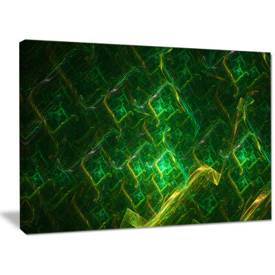 Designart Green Fractal Electric Lightning Abstract Canvas Wall Art