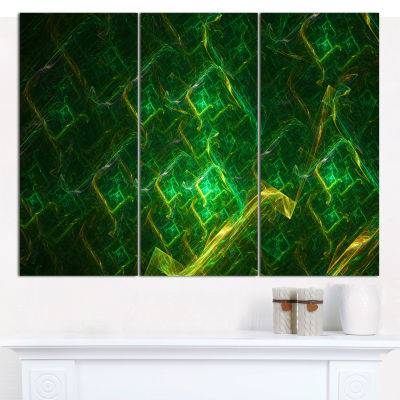 Designart Green Fractal Electric Lightning Abstract Canvas Wall Art - 3 Panels