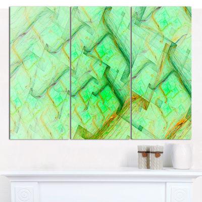 Designart Light Green Electric Lightning AbstractCanvas Wall Art - 3 Panels